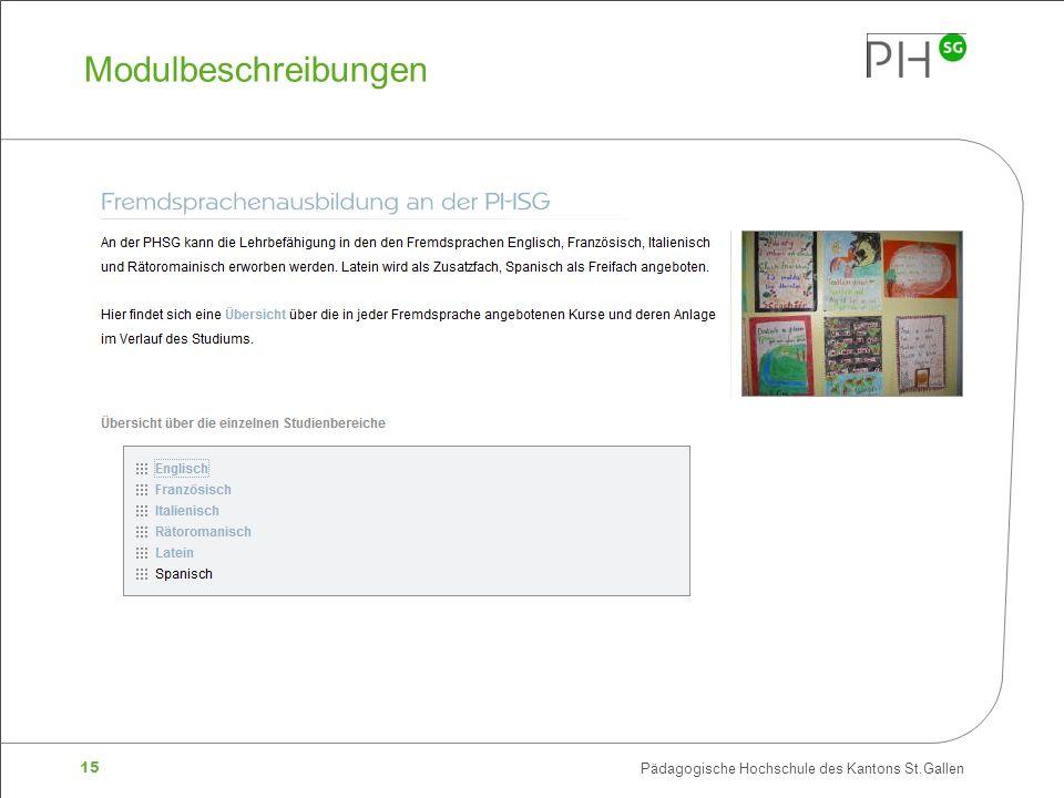 15 Pädagogische Hochschule des Kantons St.Gallen Modulbeschreibungen