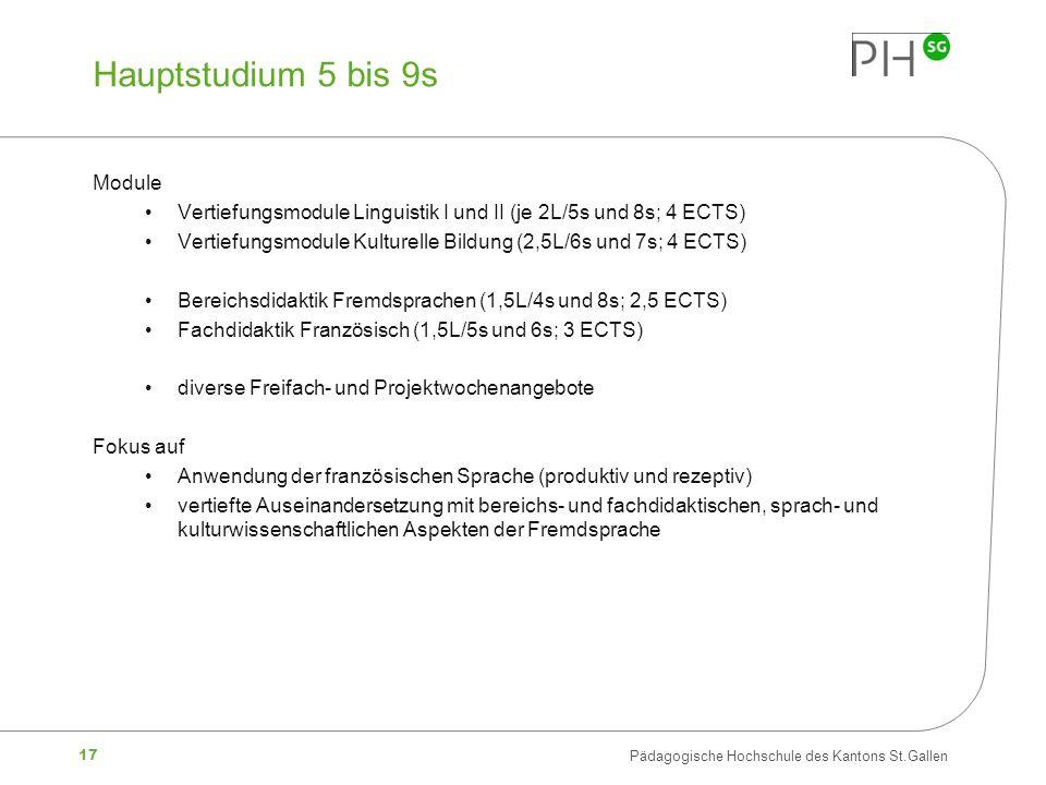 17 Pädagogische Hochschule des Kantons St.Gallen Hauptstudium 5 bis 9s Module Vertiefungsmodule Linguistik I und II (je 2L/5s und 8s; 4 ECTS) Vertiefu