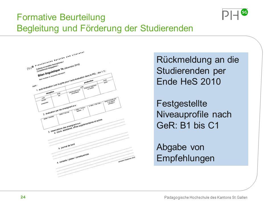 24 Pädagogische Hochschule des Kantons St.Gallen Formative Beurteilung Begleitung und Förderung der Studierenden Rückmeldung an die Studierenden per E