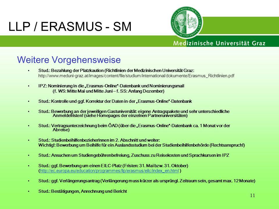 11 Weitere Vorgehensweise Stud.: Bezahlung der Platzkaution (Richtlinien der Medizinischen Universität Graz: http://www.meduni-graz.at/images/content/
