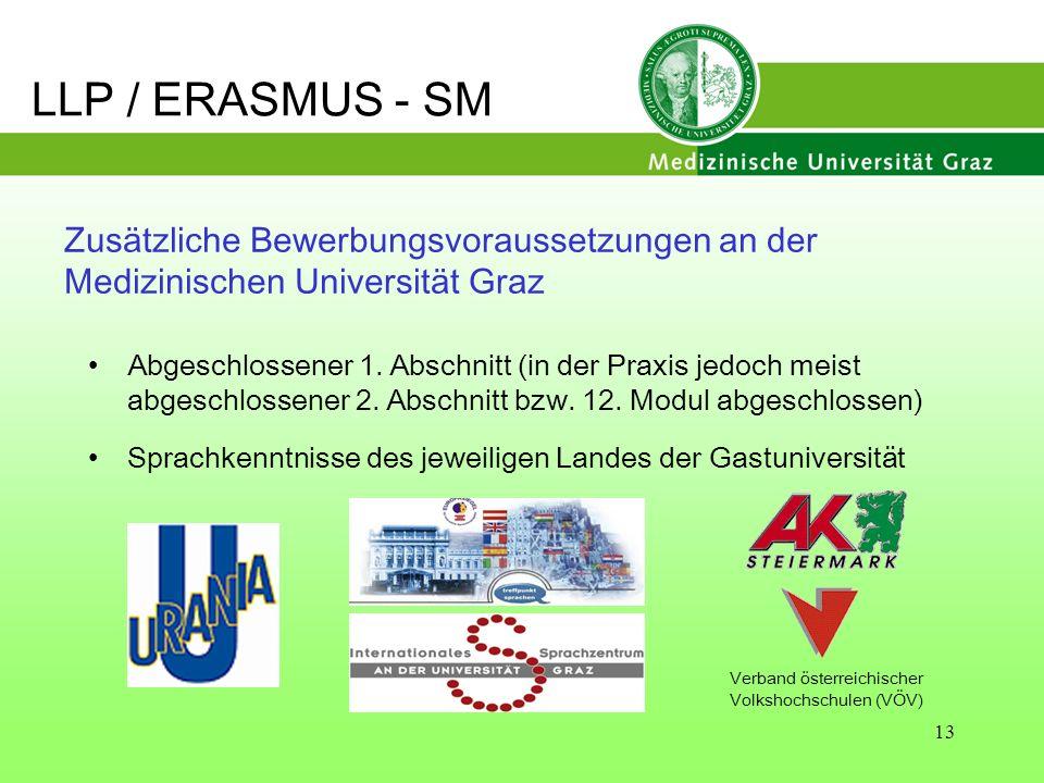 13 Zusätzliche Bewerbungsvoraussetzungen an der Medizinischen Universität Graz Abgeschlossener 1. Abschnitt (in der Praxis jedoch meist abgeschlossene