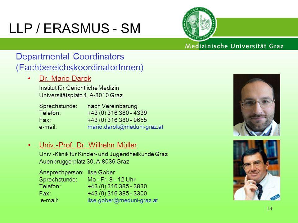 14 Departmental Coordinators (FachbereichskoordinatorInnen) Dr. Mario Darok Institut für Gerichtliche Medizin Universitätsplatz 4, A-8010 Graz Sprechs