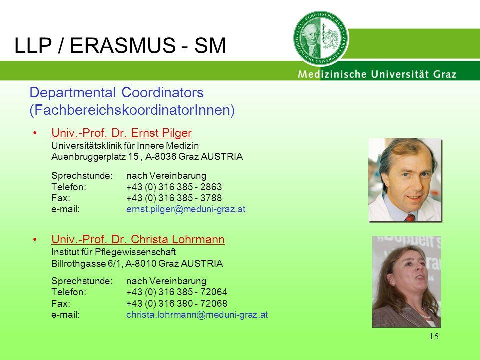 15 Departmental Coordinators (FachbereichskoordinatorInnen) Univ.-Prof. Dr. Ernst Pilger Universitätsklinik für Innere Medizin Auenbruggerplatz 15, A-
