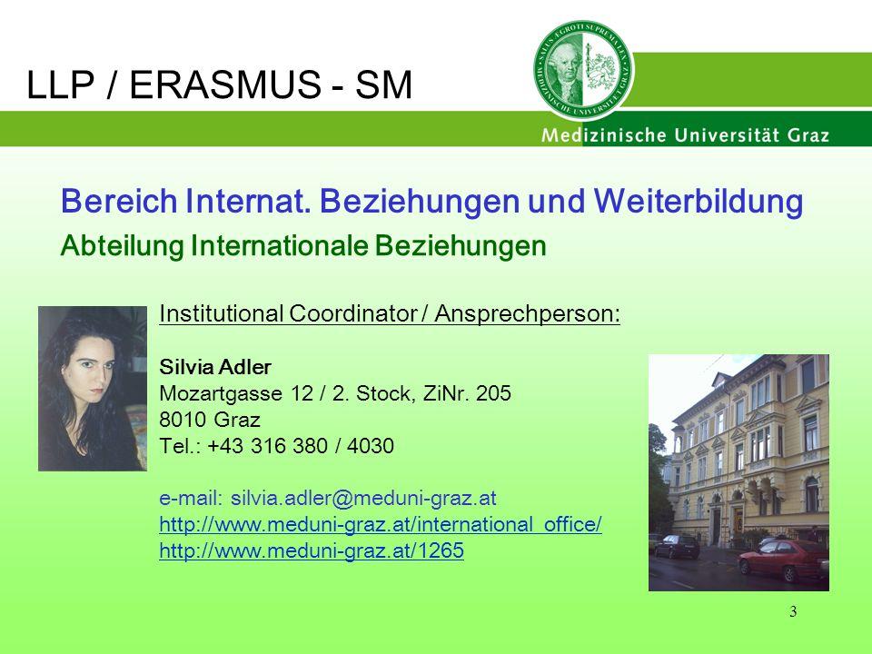 3 Bereich Internat. Beziehungen und Weiterbildung Institutional Coordinator / Ansprechperson: Silvia Adler Mozartgasse 12 / 2. Stock, ZiNr. 205 8010 G