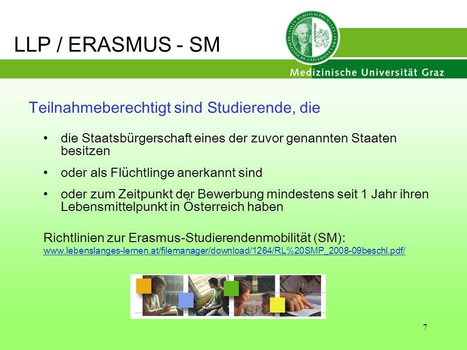 8 Merkmale von ERASMUS Dauer: mindestens 3 Monate (od.
