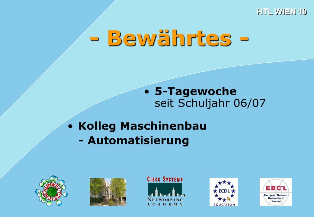 HTL WIEN 10 - Bewährtes - 5-Tagewoche seit Schuljahr 06/07 Kolleg Maschinenbau - Automatisierung