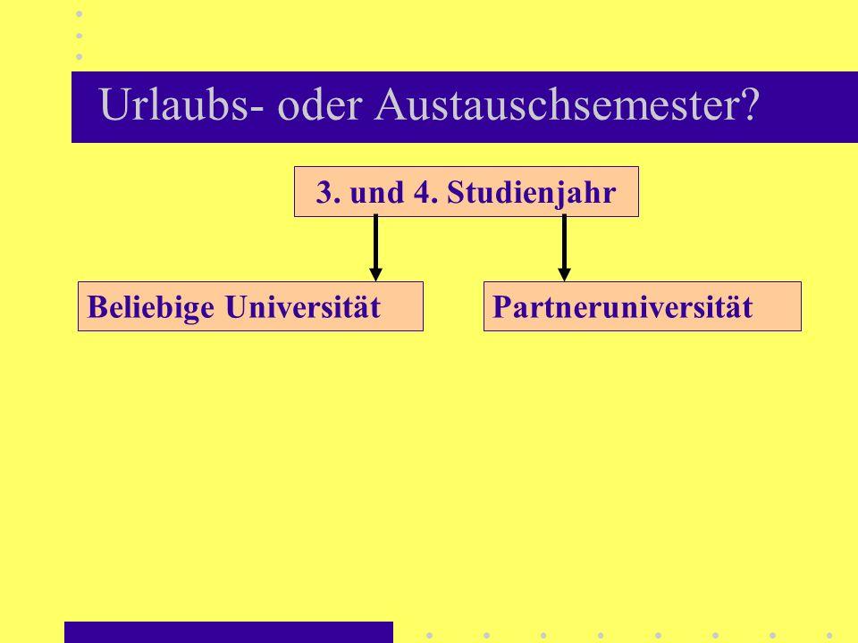 Urlaubs- oder Austauschsemester? 3. und 4. Studienjahr PartneruniversitätBeliebige Universität