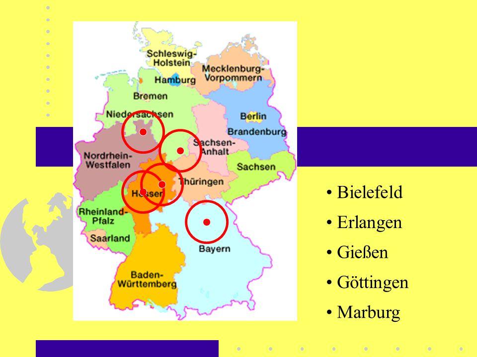 Erlangen Bielefeld Gießen Göttingen Marburg