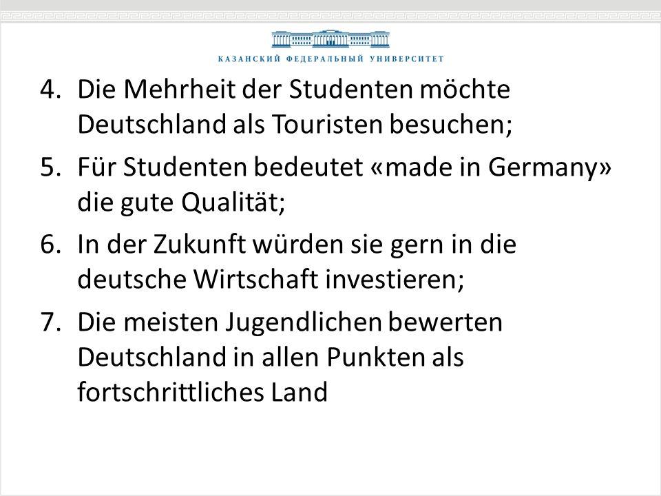 4.Die Mehrheit der Studenten möchte Deutschland als Touristen besuchen; 5.Für Studenten bedeutet «made in Germany» die gute Qualität; 6.In der Zukunft würden sie gern in die deutsche Wirtschaft investieren; 7.Die meisten Jugendlichen bewerten Deutschland in allen Punkten als fortschrittliches Land
