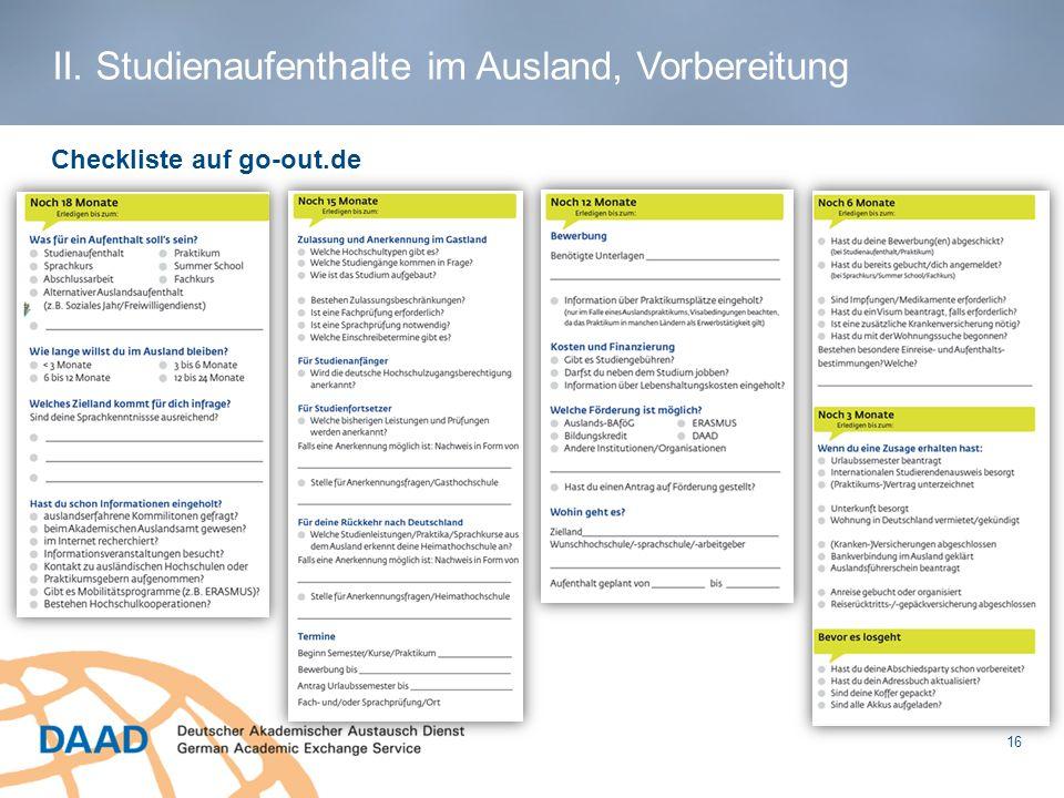Checkliste auf go-out.de II. Studienaufenthalte im Ausland, Vorbereitung 16