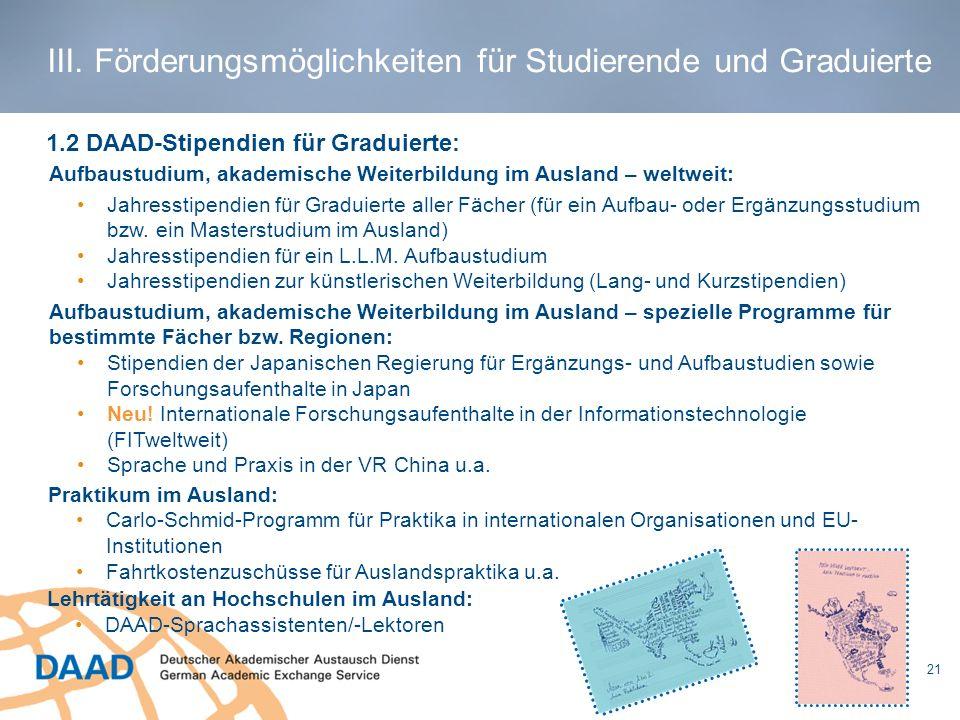 Aufbaustudium, akademische Weiterbildung im Ausland – weltweit: Jahresstipendien für Graduierte aller Fächer (für ein Aufbau- oder Ergänzungsstudium b