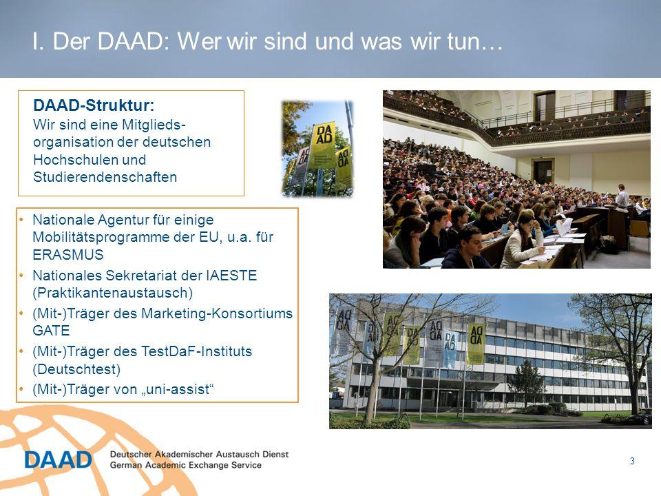 3 © Dörthe Hagenguth I. Der DAAD: Wer wir sind und was wir tun… DAAD-Struktur: Wir sind eine Mitglieds- organisation der deutschen Hochschulen und Stu