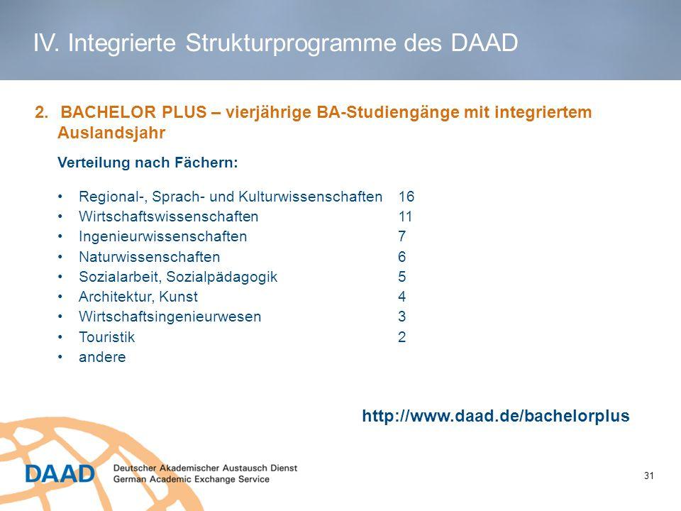1 2.BACHELOR PLUS – vierjährige BA-Studiengänge mit integriertem Auslandsjahr http://www.daad.de/bachelorplus Regional-, Sprach- und Kulturwissenschaf
