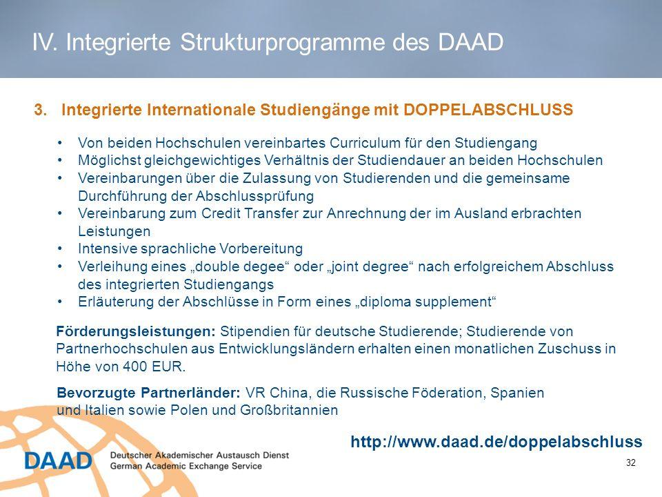 1 3. Integrierte Internationale Studiengänge mit DOPPELABSCHLUSS Von beiden Hochschulen vereinbartes Curriculum für den Studiengang Möglichst gleichge