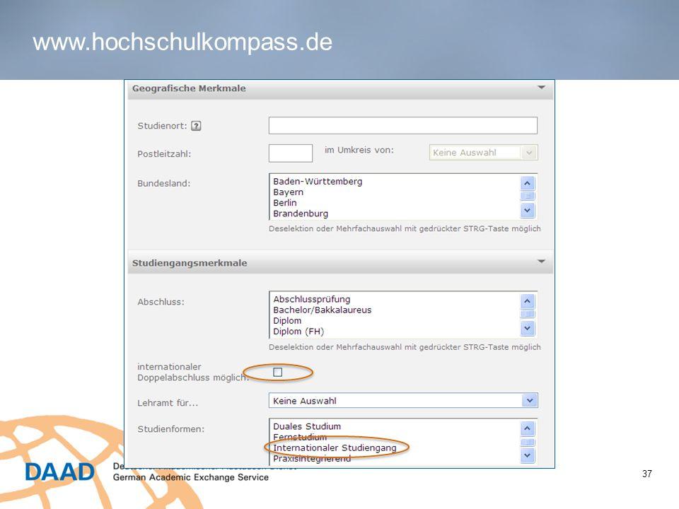 www.hochschulkompass.de 37