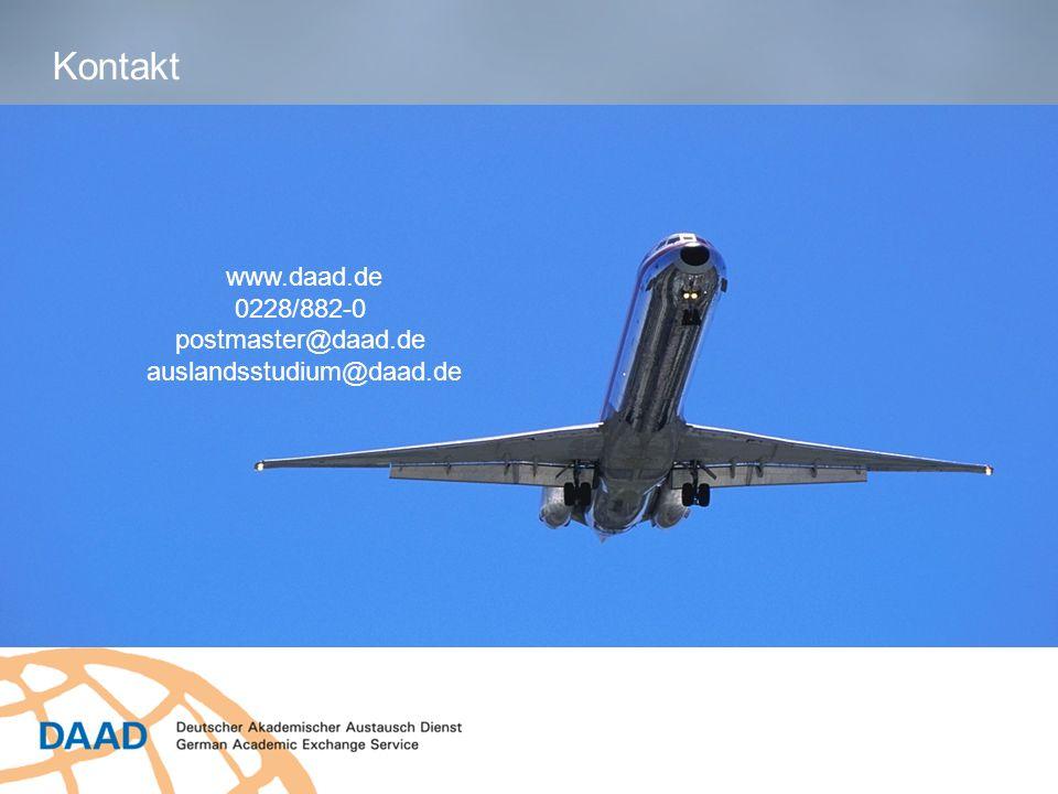 www.daad.de 0228/882-0 postmaster@daad.de auslandsstudium@daad.de Kontakt