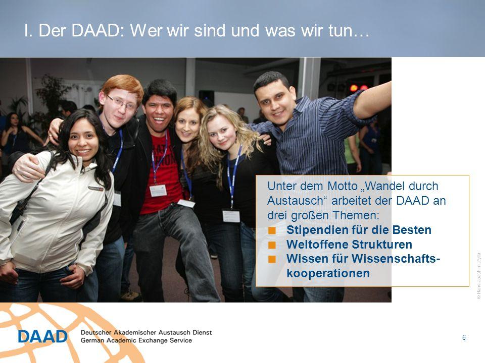 1.DAAD-Individualstipendien für einen Auslandsaufenthalt Förderung von Einzelpersonen 2.über die Hochschulen vergebene Stipendien aus Mitteln des DAAD z.