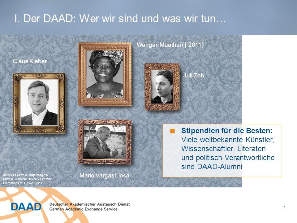 7 Stipendien für die Besten: Viele weltbekannte Künstler, Wissenschaftler, Literaten und politisch Verantwortliche sind DAAD-Alumni © links + Mitte o.