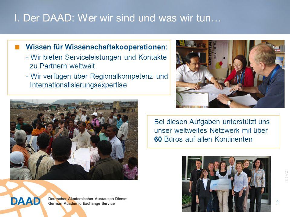 9 © DAAD Wissen für Wissenschaftskooperationen: - Wir bieten Serviceleistungen und Kontakte zu Partnern weltweit - Wir verfügen über Regionalkompetenz