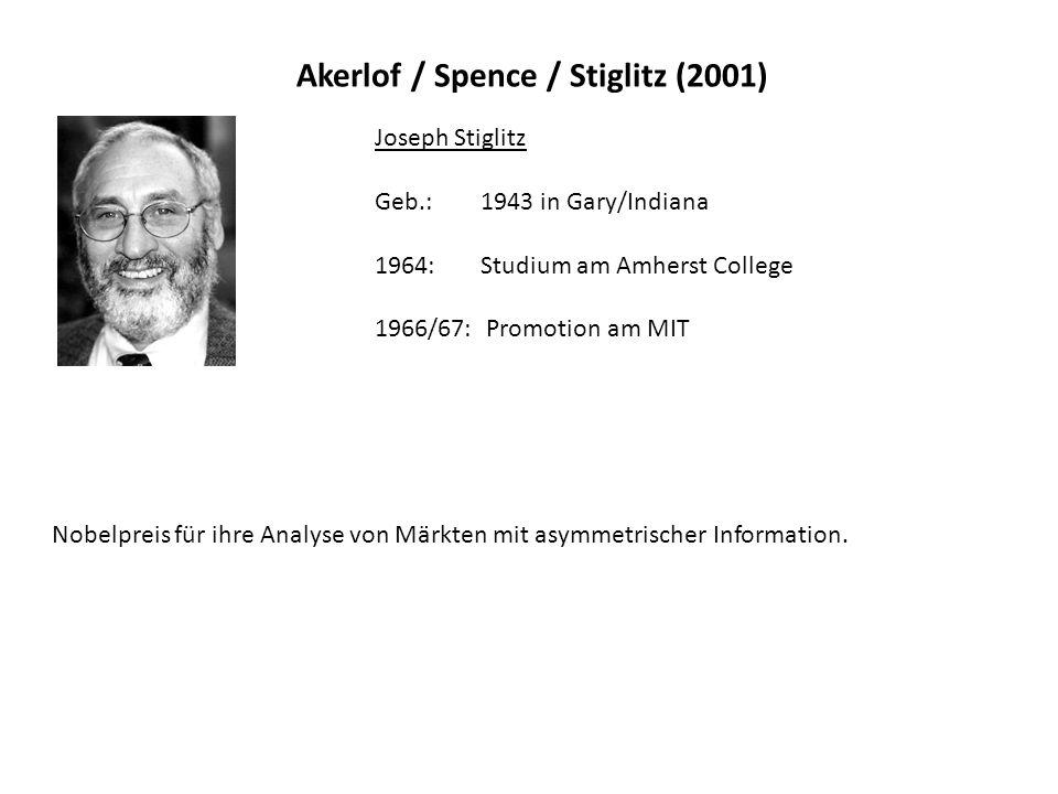 Akerlof / Spence / Stiglitz (2001) Joseph Stiglitz Geb.: 1943 in Gary/Indiana 1964: Studium am Amherst College 1966/67: Promotion am MIT Nobelpreis für ihre Analyse von Märkten mit asymmetrischer Information.