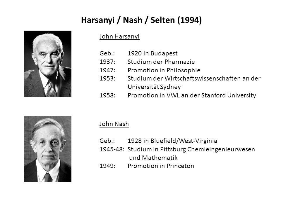 Harsanyi / Nash / Selten (1994) John Harsanyi Geb.: 1920 in Budapest 1937: Studium der Pharmazie 1947: Promotion in Philosophie 1953: Studium der Wirt