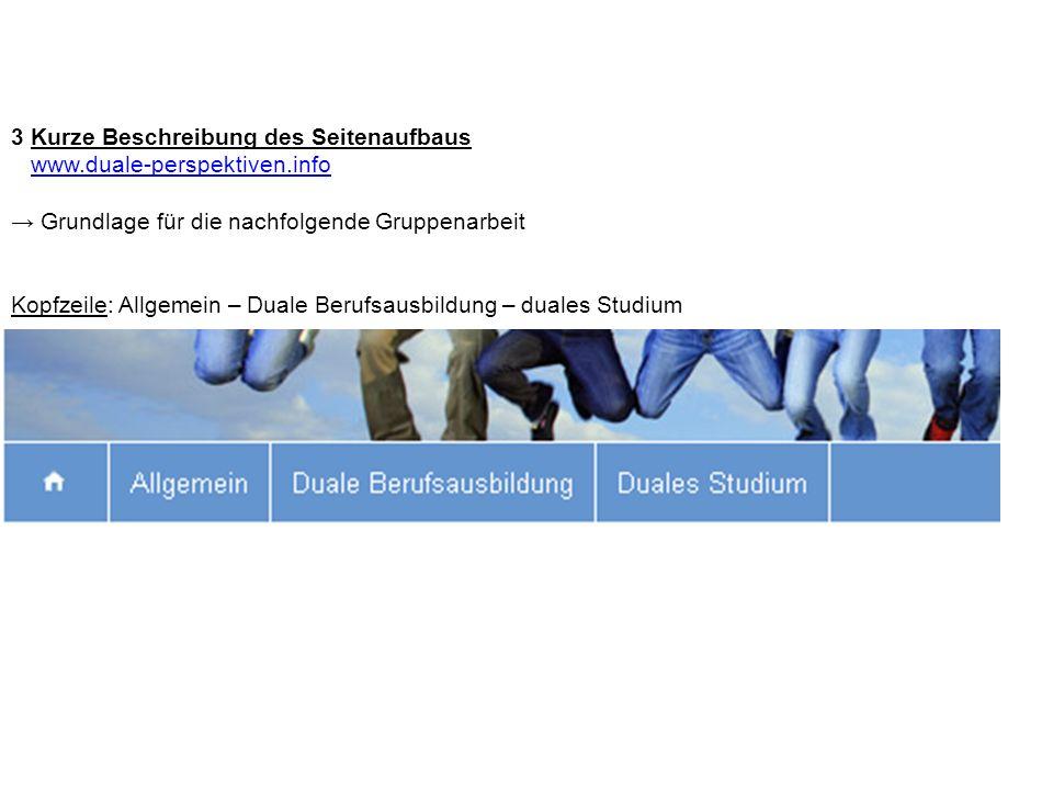 3 Kurze Beschreibung des Seitenaufbaus www.duale-perspektiven.info Grundlage für die nachfolgende Gruppenarbeit Kopfzeile: Allgemein – Duale Berufsaus