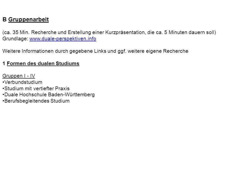 B Gruppenarbeit (ca. 35 Min. Recherche und Erstellung einer Kurzpräsentation, die ca. 5 Minuten dauern soll) Grundlage: www.duale-perspektiven.infowww