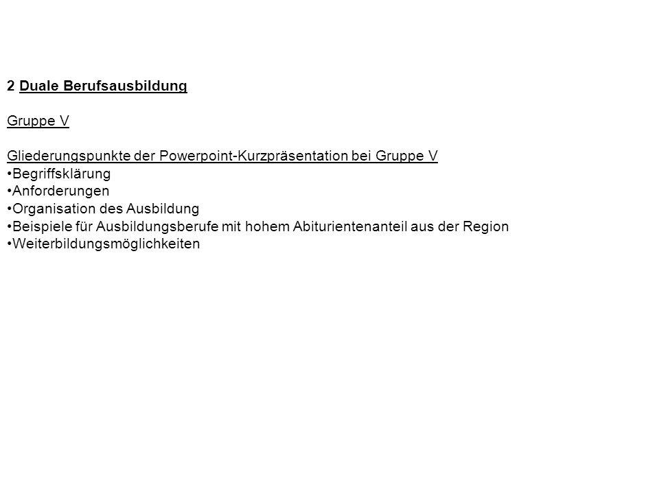 2 Duale Berufsausbildung Gruppe V Gliederungspunkte der Powerpoint-Kurzpräsentation bei Gruppe V Begriffsklärung Anforderungen Organisation des Ausbil