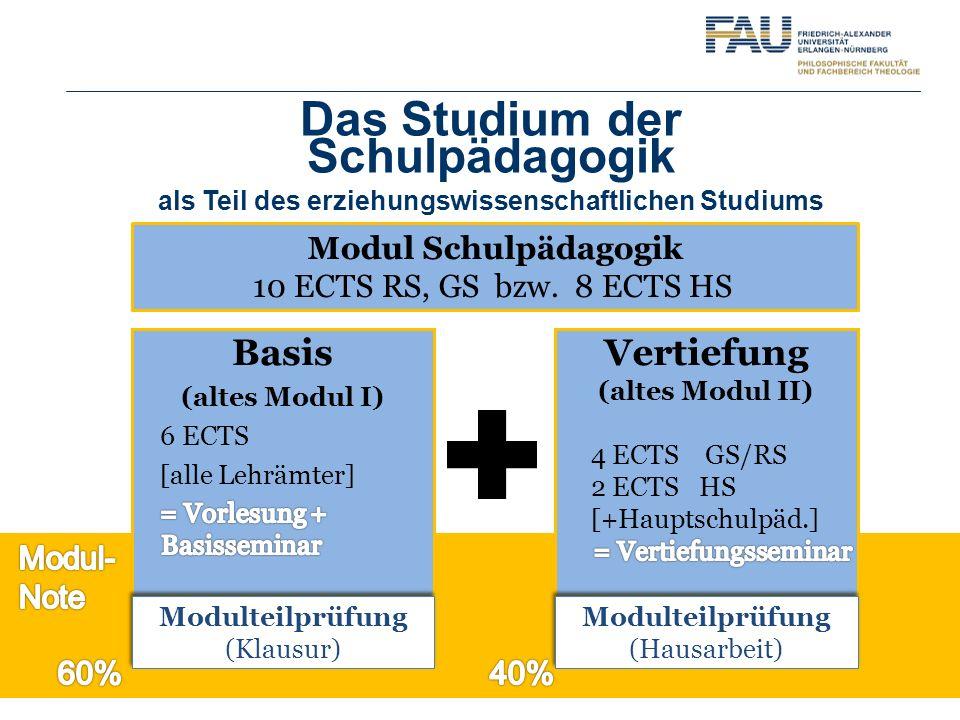 Das Studium der Schulpädagogik als Teil des erziehungswissenschaftlichen Studiums Modul Schulpädagogik 10 ECTSRS, GS bzw. 8 ECTS HS Modulteilprüfung (