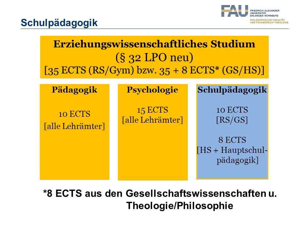 Erziehungswissenschaftliches Studium (§ 32 LPO neu) [35 ECTS (RS/Gym) bzw. 35 + 8 ECTS* (GS/HS)] Pädagogik 10 ECTS [alle Lehrämter] Psychologie 15 ECT