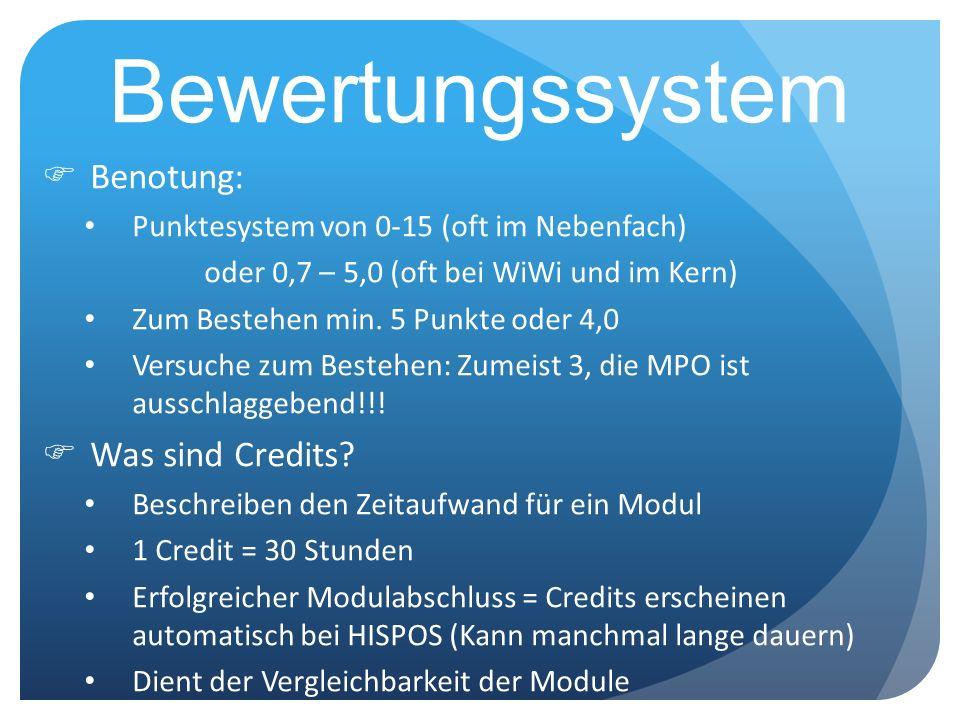 Bewertungssystem Benotung: Punktesystem von 0-15 (oft im Nebenfach) oder 0,7 – 5,0 (oft bei WiWi und im Kern) Zum Bestehen min. 5 Punkte oder 4,0 Vers