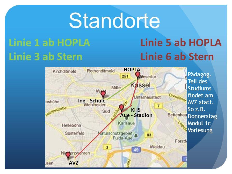 Standorte AVZ Ing - Schule HOPLA KHS Aue - Stadion Linie 1 ab HOPLA Linie 3 ab Stern Linie 5 ab HOPLA Linie 6 ab Stern Pädagog. Teil des Studiums find