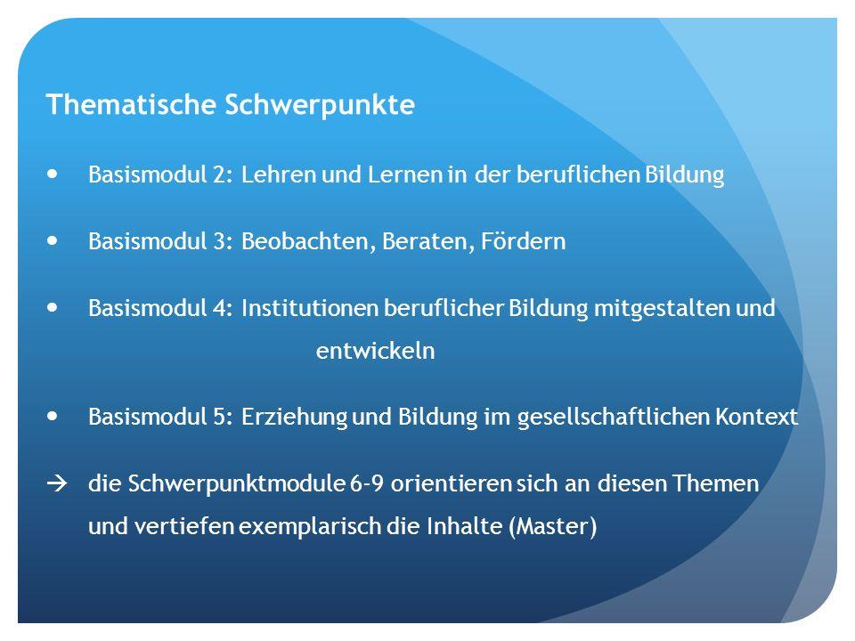 Thematische Schwerpunkte Basismodul 2: Lehren und Lernen in der beruflichen Bildung Basismodul 3: Beobachten, Beraten, Fördern Basismodul 4: Instituti