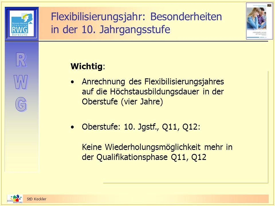 StD Kockler Flexibilisierungsjahr: Besonderheiten in der 10. Jahrgangsstufe Wichtig: Anrechnung des Flexibilisierungsjahres auf die Höchstausbildungsd