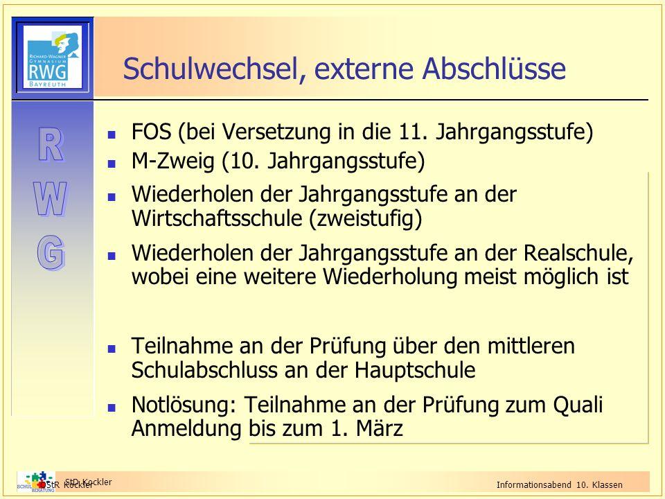 StD Kockler OStR KocklerInformationsabend 10. Klassen Schulwechsel, externe Abschlüsse FOS (bei Versetzung in die 11. Jahrgangsstufe) M-Zweig (10. Jah
