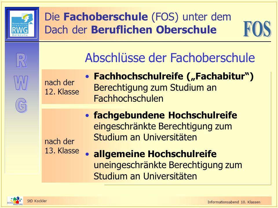 StD Kockler Informationsabend 10. Klassen nach der 12. Klasse Die Fachoberschule (FOS) unter dem Dach der Beruflichen Oberschule nach der 13. Klasse A