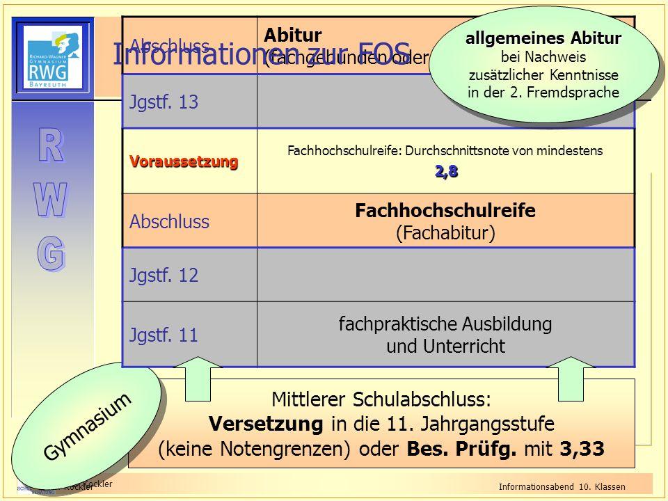 StD Kockler OStR KocklerInformationsabend 10. Klassen Mittlerer Schulabschluss: Versetzung in die 11. Jahrgangsstufe (keine Notengrenzen) oder Bes. Pr