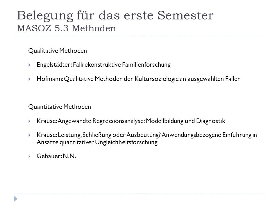 Belegung für das erste Semester MASOZ 5.3 Methoden Qualitative Methoden Engelstädter: Fallrekonstruktive Familienforschung Hofmann: Qualitative Method