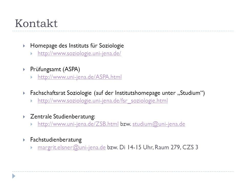 Kontakt Homepage des Instituts für Soziologie http://www.soziologie.uni-jena.de/ Prüfungsamt (ASPA) http://www.uni-jena.de/ASPA.html Fachschaftsrat So