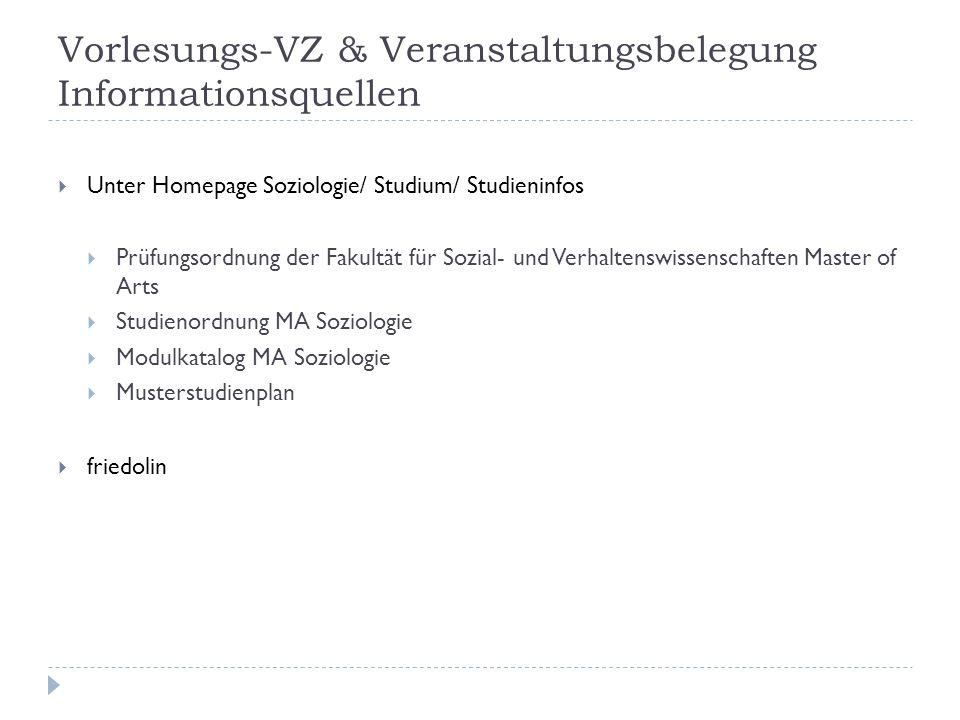 Vorlesungs-VZ & Veranstaltungsbelegung Informationsquellen Unter Homepage Soziologie/ Studium/ Studieninfos Prüfungsordnung der Fakultät für Sozial- u