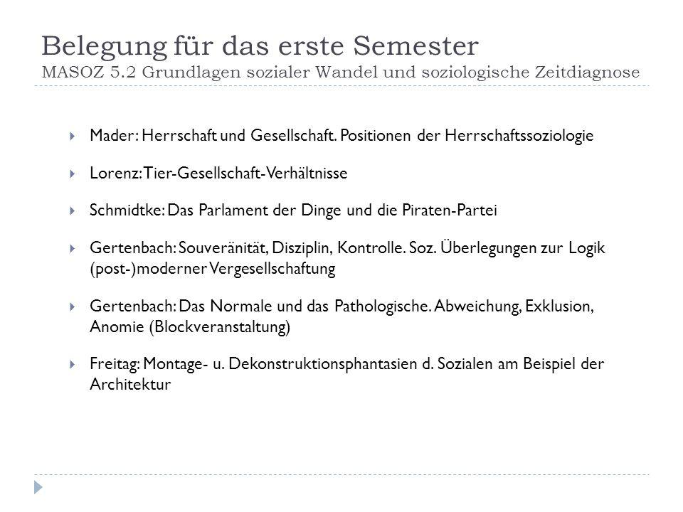 Belegung für das erste Semester MASOZ 5.2 Grundlagen sozialer Wandel und soziologische Zeitdiagnose Mader: Herrschaft und Gesellschaft. Positionen der