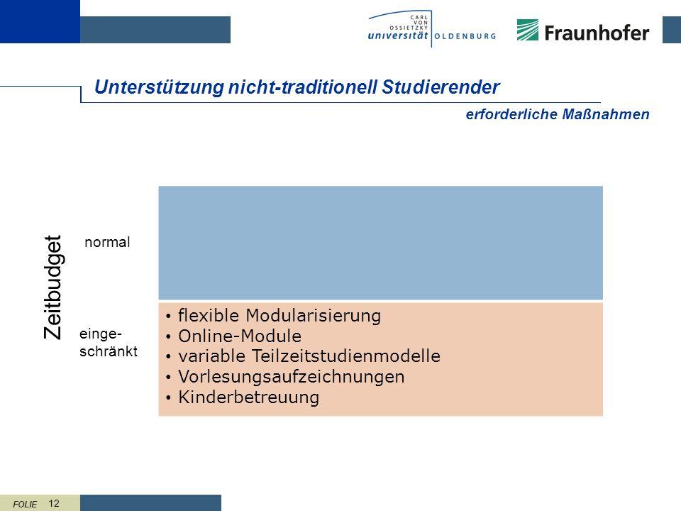 FOLIE 12 Unterstützung nicht-traditionell Studierender flexible Modularisierung Online-Module variable Teilzeitstudienmodelle Vorlesungsaufzeichnungen