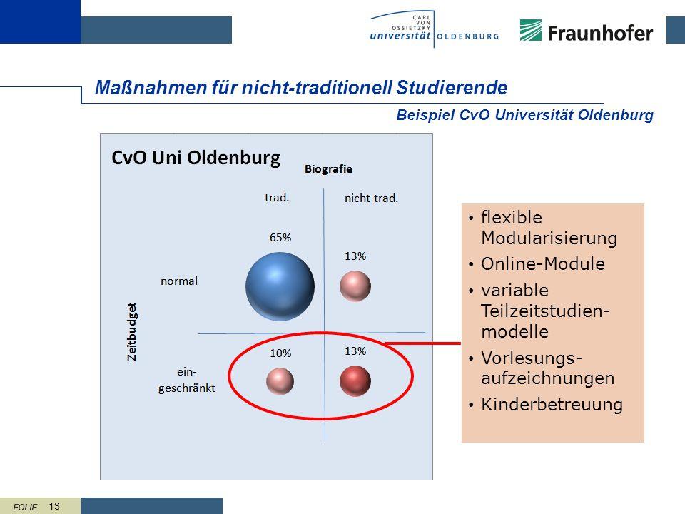 FOLIE 13 Maßnahmen für nicht-traditionell Studierende Beispiel CvO Universität Oldenburg flexible Modularisierung Online-Module variable Teilzeitstudi