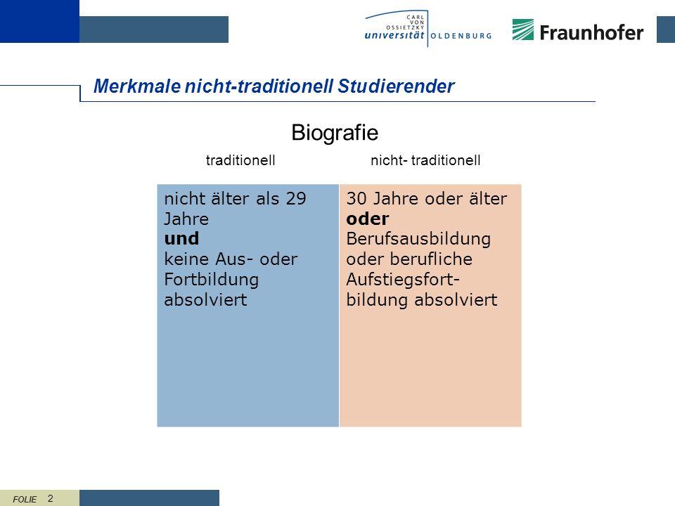 FOLIE 13 Maßnahmen für nicht-traditionell Studierende Beispiel CvO Universität Oldenburg flexible Modularisierung Online-Module variable Teilzeitstudien- modelle Vorlesungs- aufzeichnungen Kinderbetreuung