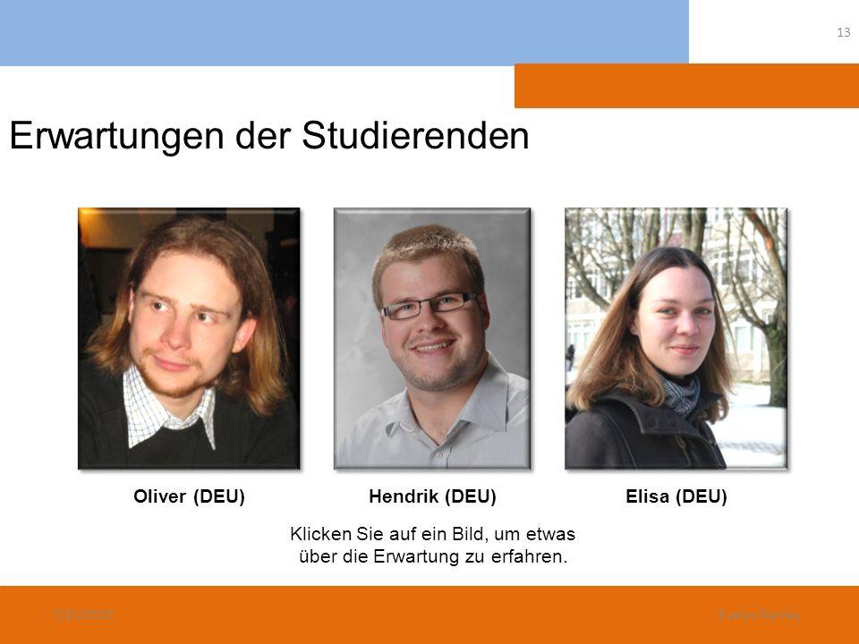 Erwartungen der Studierenden Oliver (DEU)Hendrik (DEU)Elisa (DEU) Klicken Sie auf ein Bild, um etwas über die Erwartung zu erfahren. 7/21/2010 13 Evel