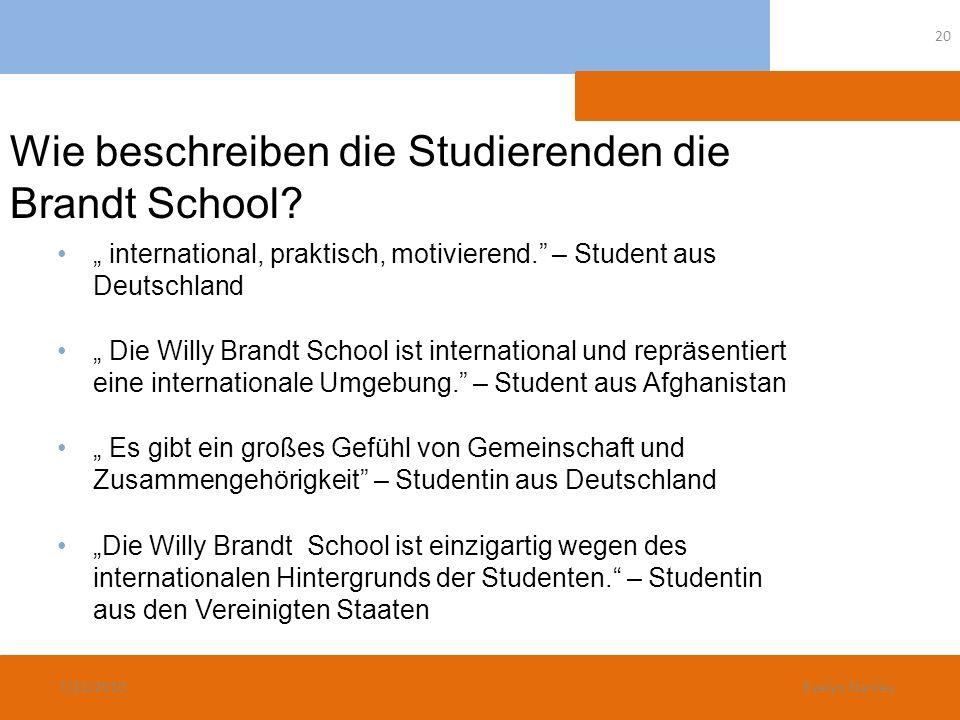 Wie beschreiben die Studierenden die Brandt School? international, praktisch, motivierend. – Student aus Deutschland Die Willy Brandt School ist inter