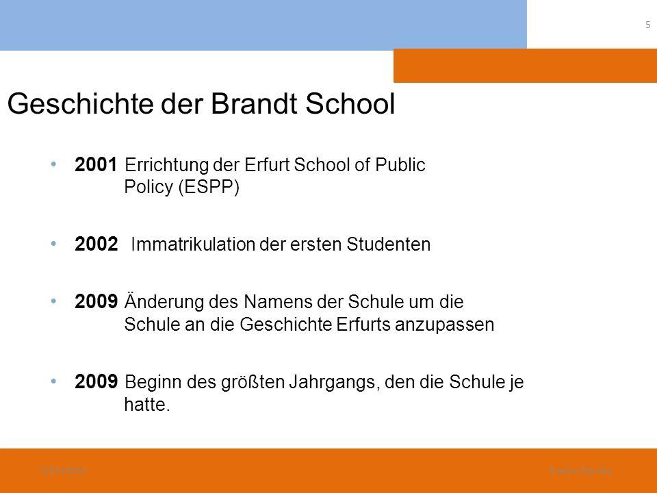 Geschichte der Brandt School 2001 Errichtung der Erfurt School of Public Policy (ESPP) 2002 Immatrikulation der ersten Studenten 2009 Änderung des Nam