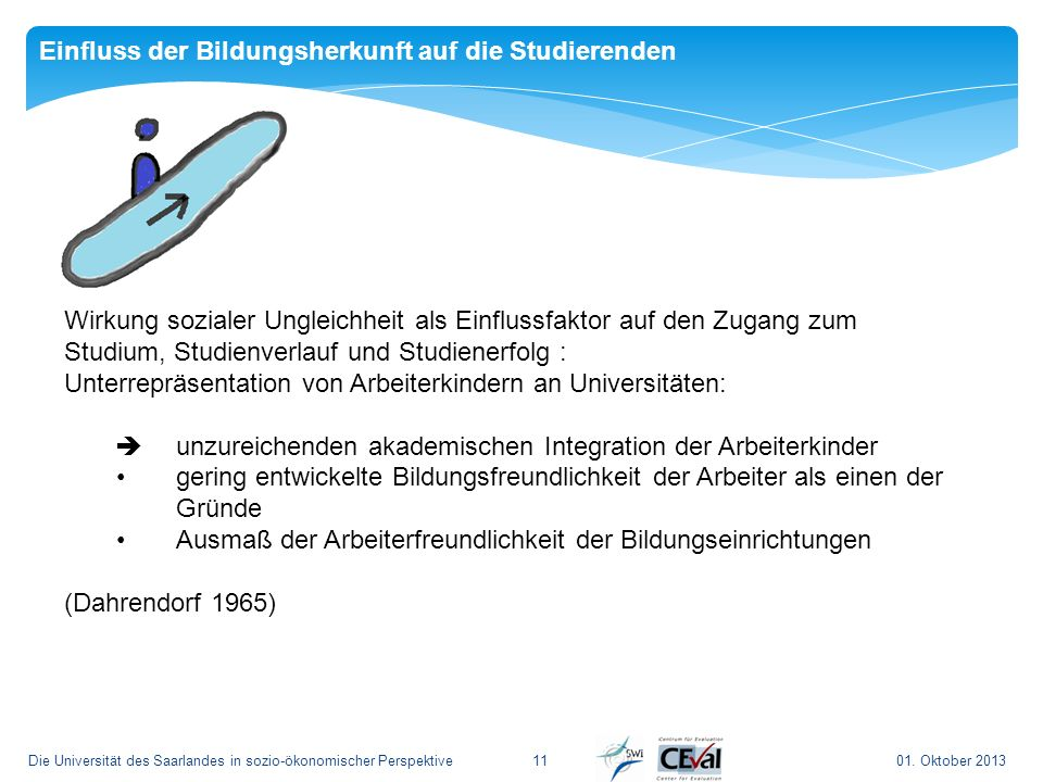 01. Oktober 2013Die Universität des Saarlandes in sozio-ökonomischer Perspektive11 Einfluss der Bildungsherkunft auf die Studierenden Wirkung sozialer