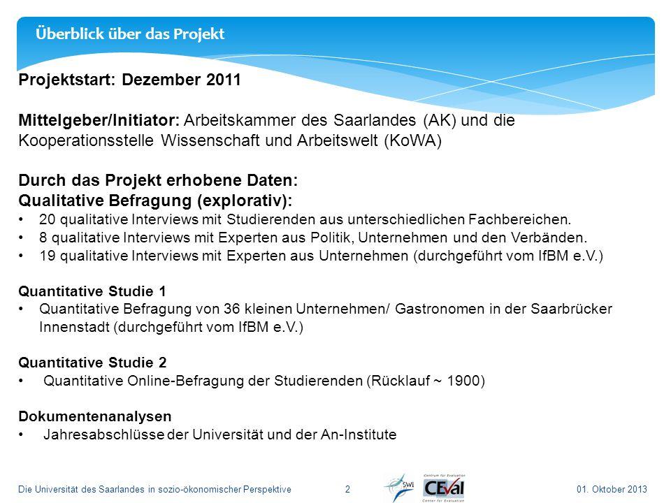 01. Oktober 2013Die Universität des Saarlandes in sozio-ökonomischer Perspektive2 Projektstart: Dezember 2011 Mittelgeber/Initiator: Arbeitskammer des