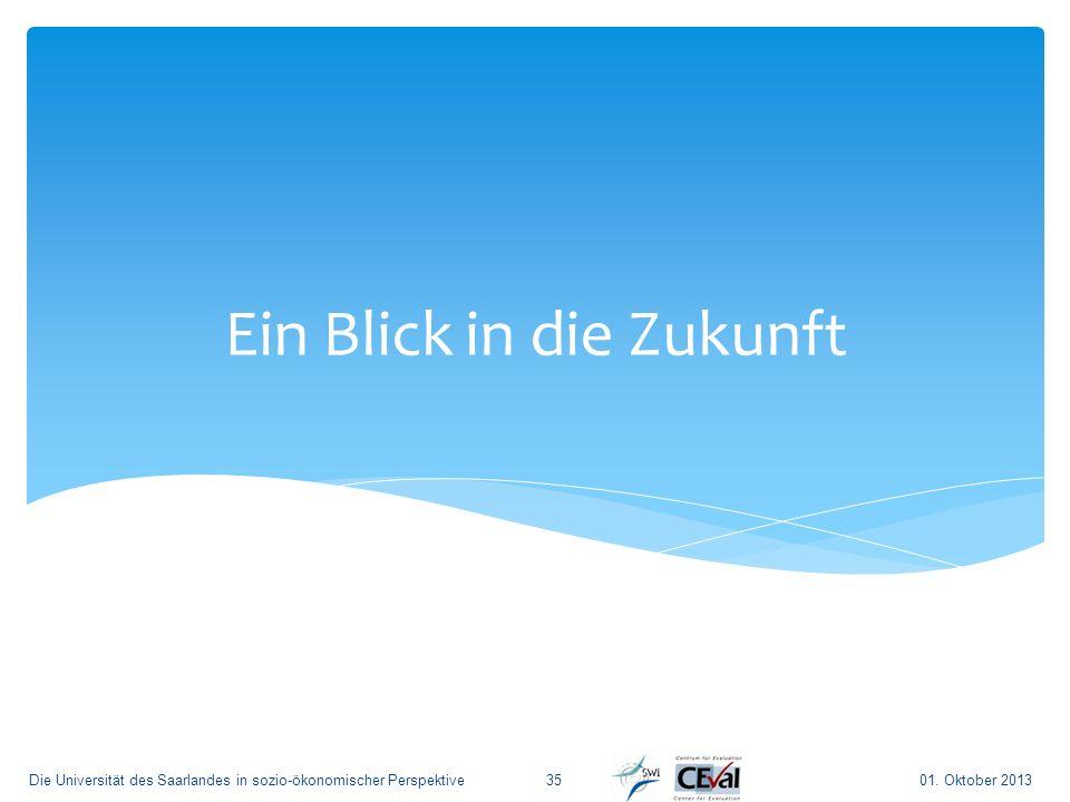 Ein Blick in die Zukunft 01. Oktober 2013Die Universität des Saarlandes in sozio-ökonomischer Perspektive35